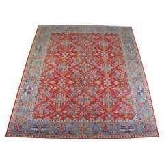 Traditional Pakistan Hand Knotted Wool Floral Area Rug Carpet Red Blue