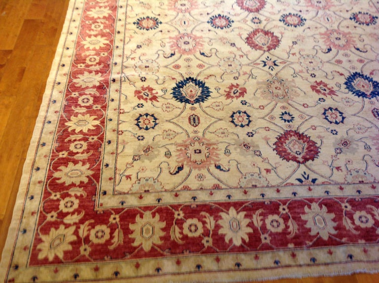 Traditional Pakistani Beige Floral Rug with Red and Teal For Sale 4