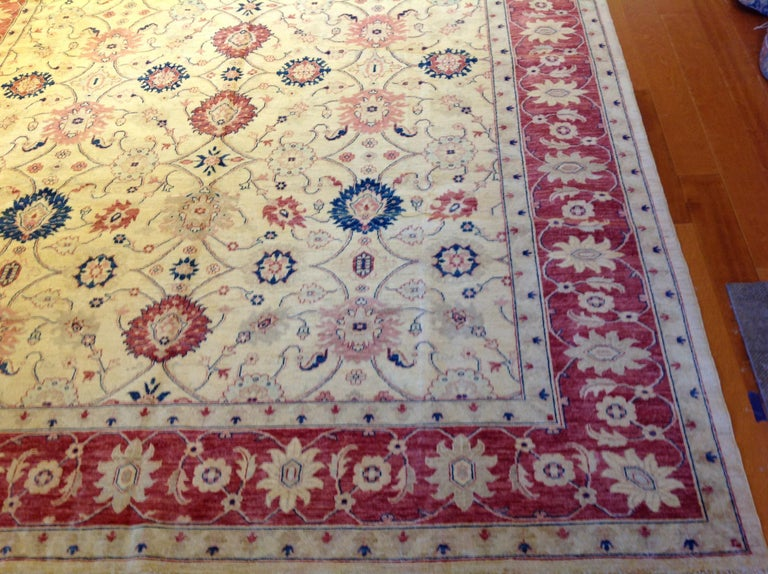 Traditional Pakistani Beige Floral Rug with Red and Teal In New Condition For Sale In Los Angeles, CA