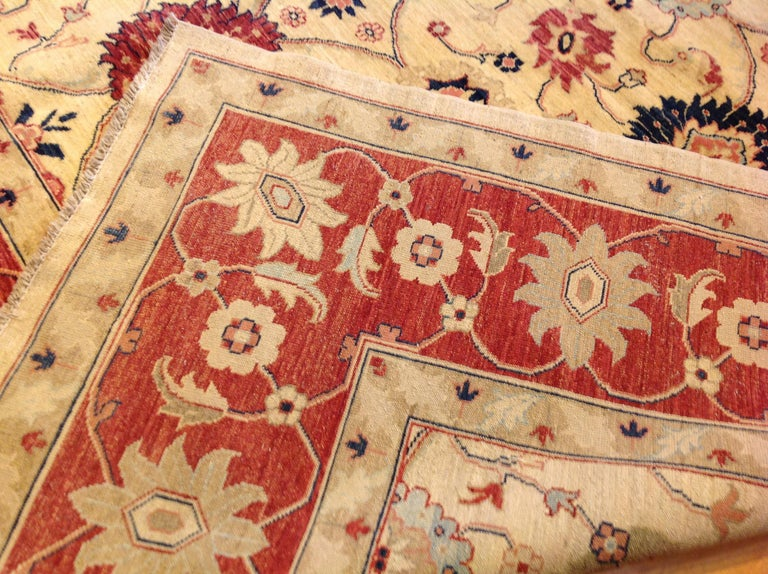 Traditional Pakistani Beige Floral Rug with Red and Teal For Sale 2
