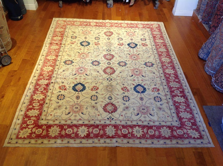 Traditional Pakistani Beige Floral Rug with Red and Teal For Sale 3