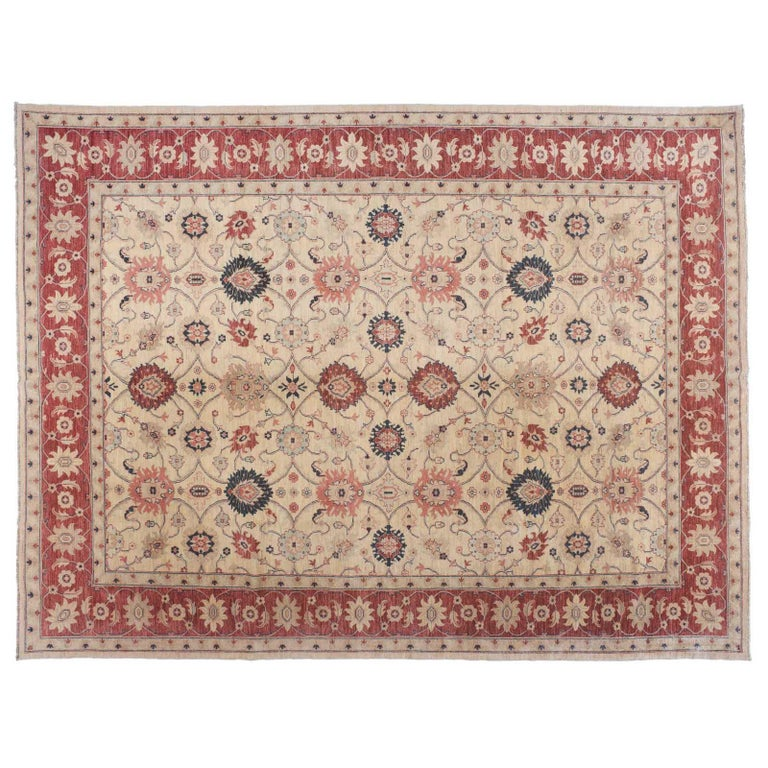 Traditional Pakistani Beige Floral Rug with Red and Teal For Sale