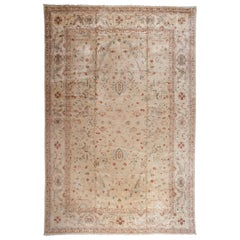 Traditional Pakistani Beige Wool Area Rug with Floral Motif