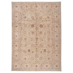 Traditional Pakistani Floral Motif in Beige with Red