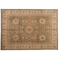 Traditional Pakistani Green Area Rug with Floral Medallions