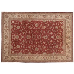 Traditional Pakistani Red Floral Area Rug