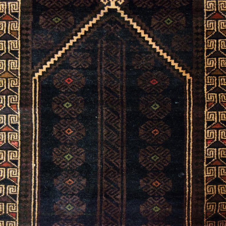 Tribal Traditional Persian Balouchi Carpet in Cream, Orange, Brown, and Black Wool