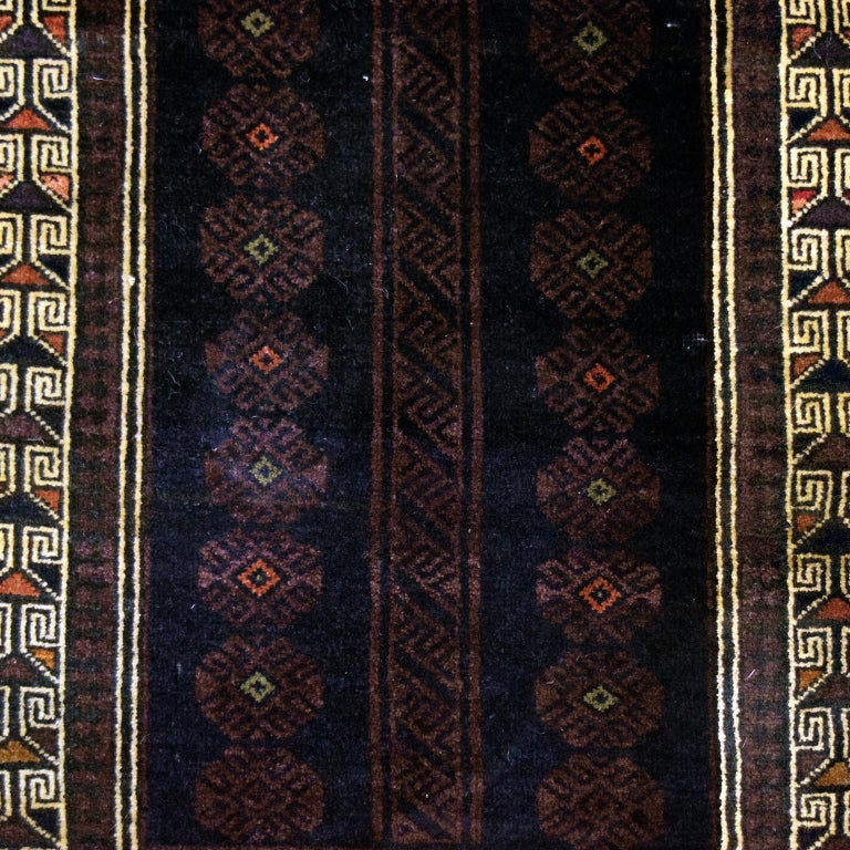 Hand-Knotted Traditional Persian Balouchi Carpet in Cream, Orange, Brown, and Black Wool