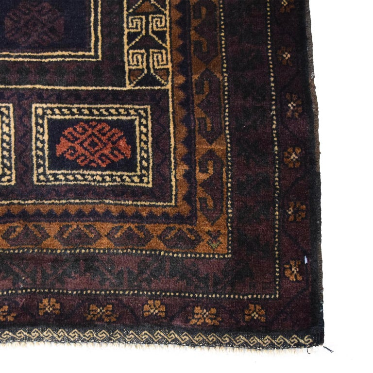 Traditional Persian Balouchi Carpet in Cream, Orange, Brown, and Black Wool In New Condition In New York, NY