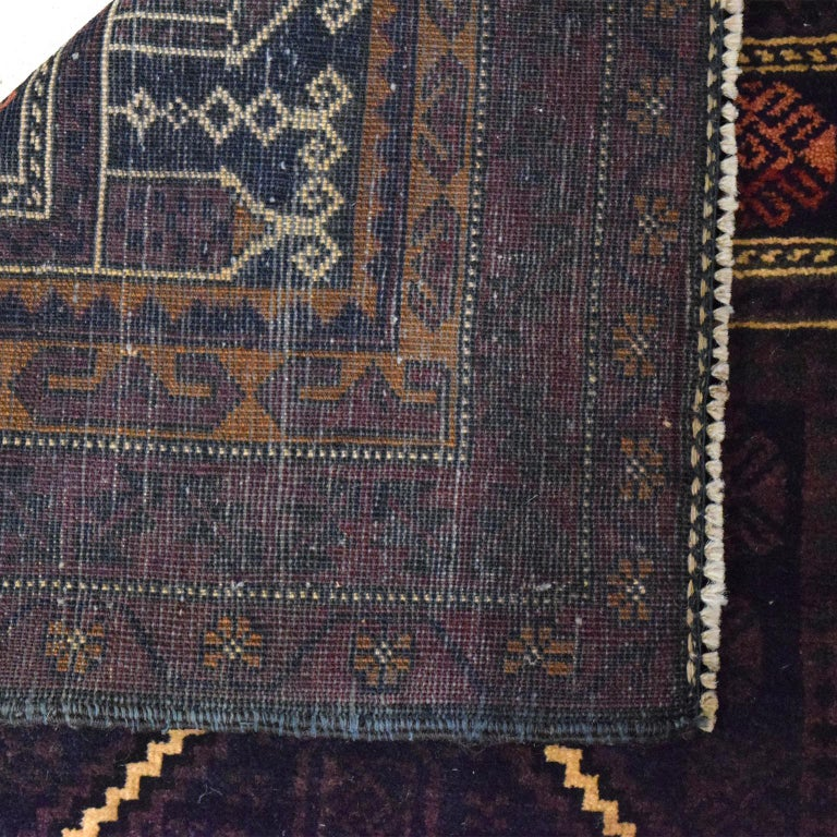 Contemporary Traditional Persian Balouchi Carpet in Cream, Orange, Brown, and Black Wool