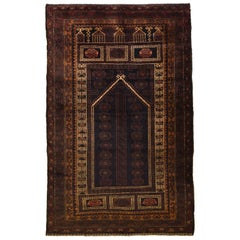 Traditional Persian Balouchi Carpet in Cream, Orange, Brown, and Black Wool