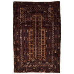 Traditional Persian Balouchi Carpet in Maroon, Orange, and Gold Wool