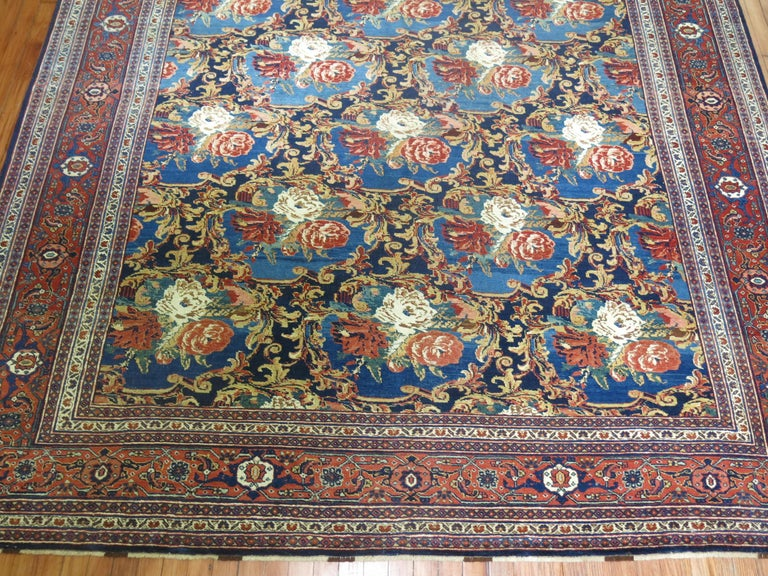 Hand-Knotted Traditional Persian Bidjar Floral Rug For Sale