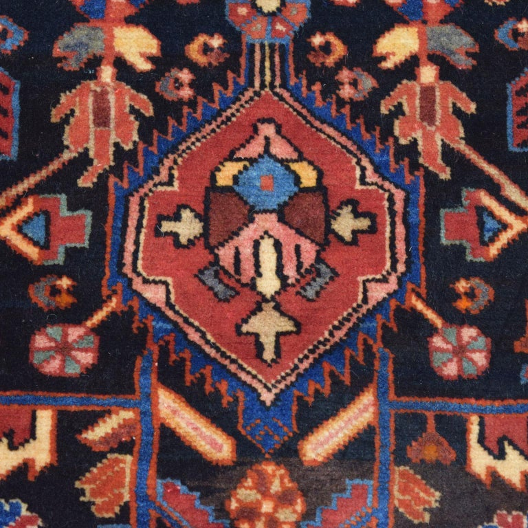 Vegetable Dyed Traditional Persian Nahavand Carpet in Red, Black and Cream Wool For Sale
