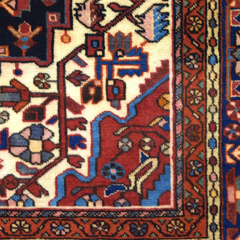 Traditional Persian Nahavand Carpet in Red, Black and Cream Wool In Good Condition For Sale In New York, NY