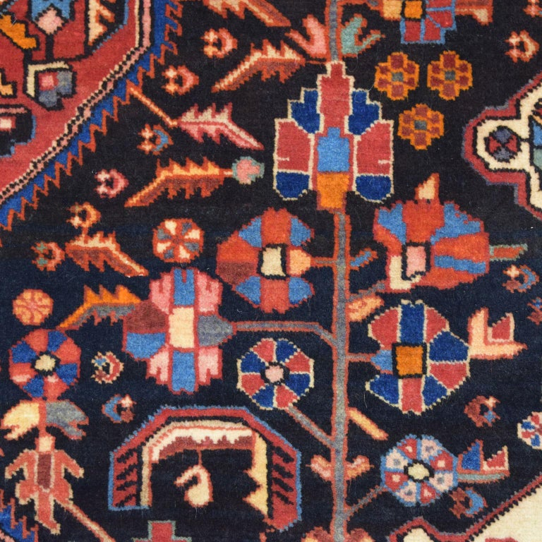 Mid-20th Century Traditional Persian Nahavand Carpet in Red, Black and Cream Wool For Sale