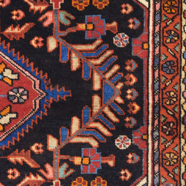 Traditional Persian Nahavand Carpet in Red, Black and Cream Wool For Sale 1