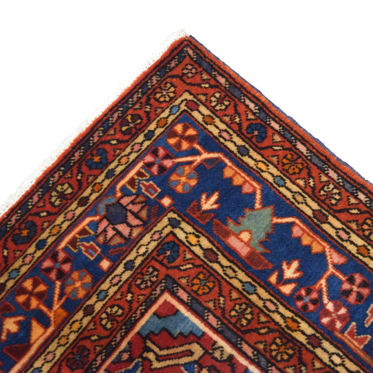 Traditional Persian Nahavand Carpet in Red, Black and Cream Wool For Sale 3