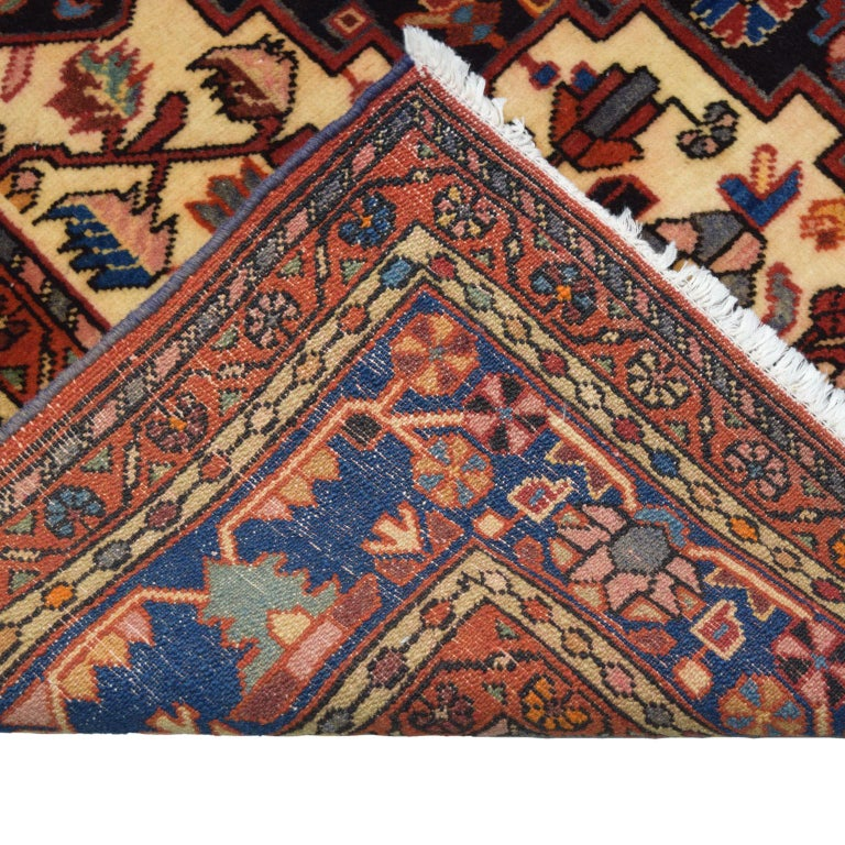Traditional Persian Nahavand Carpet in Red, Black and Cream Wool For Sale 4