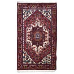 Traditional Persian Semi-Antique Gholtogh Carpet in Red, Cream, and Blue