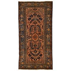 Traditional Pink and Blue Antique Hamadan Lilihan Persian Wool Carpet
