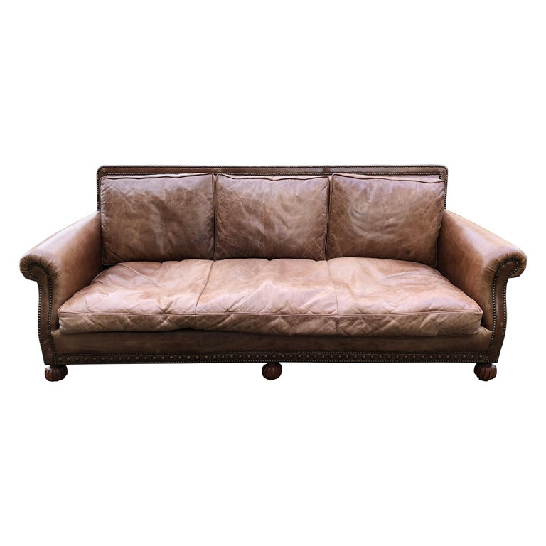 Traditional Ralph Lauren Aran Isles Saddle Leather Sofa