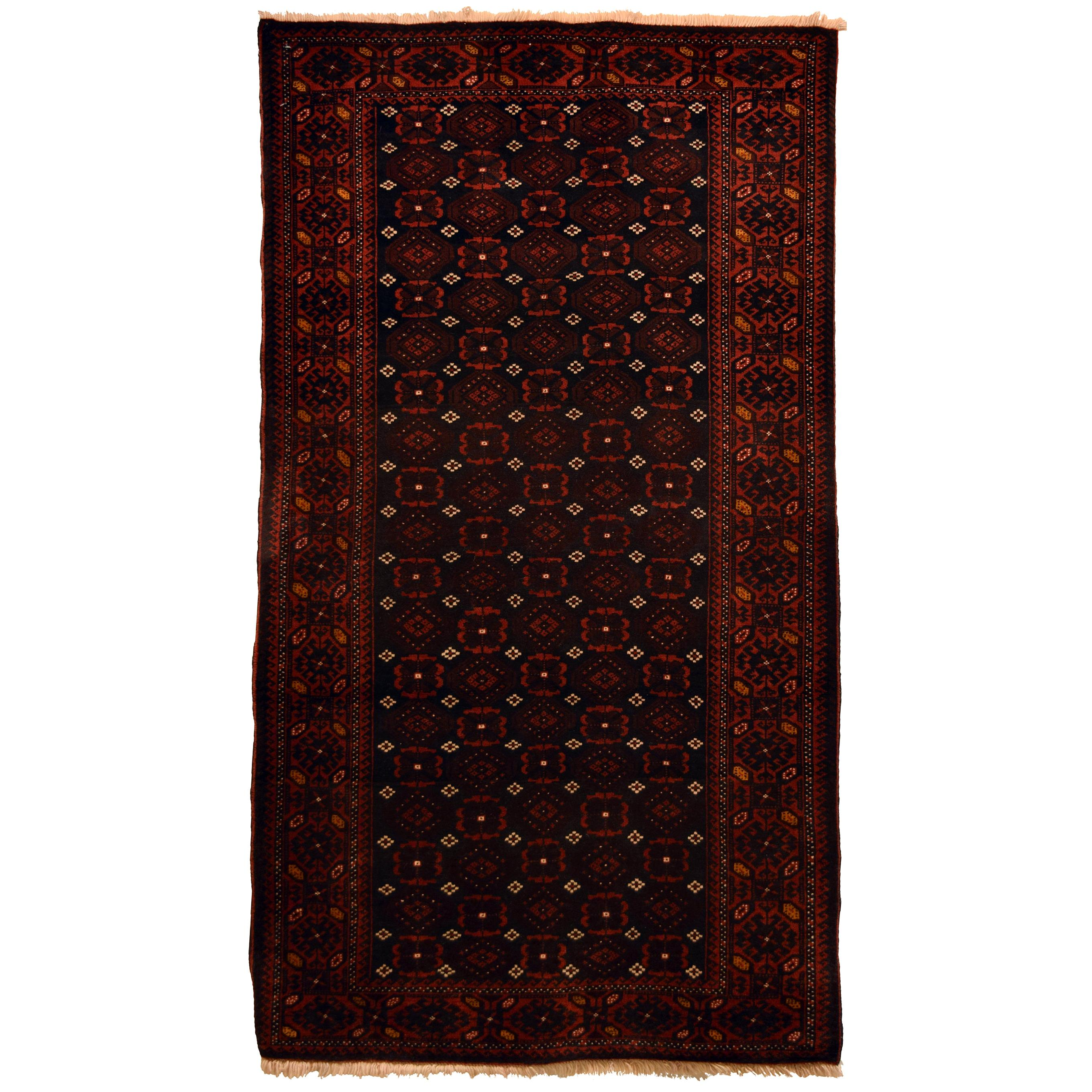 Traditional Red, Brown, and Cream Wool Persian Balouchi Carpet