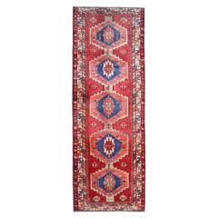 Traditional Red Runner Rug Long Handmade Oriental Tribal Carpet