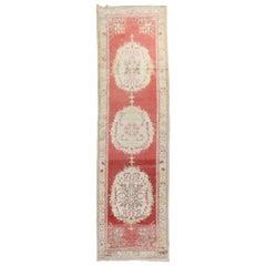 Traditional Red Vintage Oushak Runner