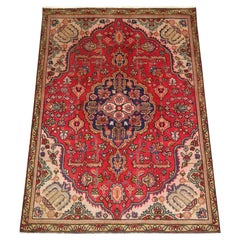 Traditional Rug Oriental Carpet Handwoven Red Floral Wool Area Rug
