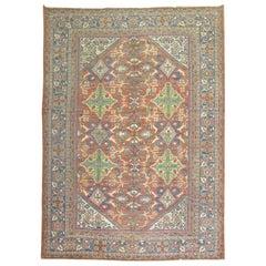 Traditional Rust Blue Green Persian Mahal Rug