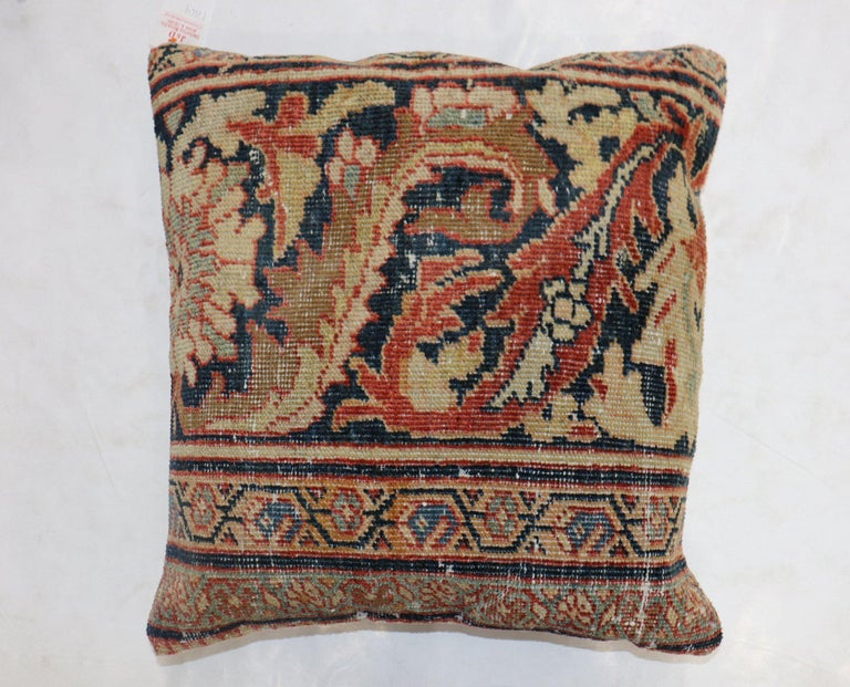 Sultanabad Traditional Rust Color Persian Border Mahal Rug Pillow, Early 20th Century For Sale
