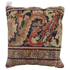 Traditional Rust Color Persian Border Mahal Rug Pillow, Early 20th Century