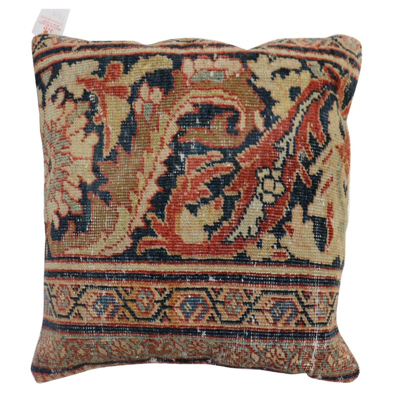 Traditional Rust Color Persian Border Mahal Rug Pillow, Early 20th Century For Sale