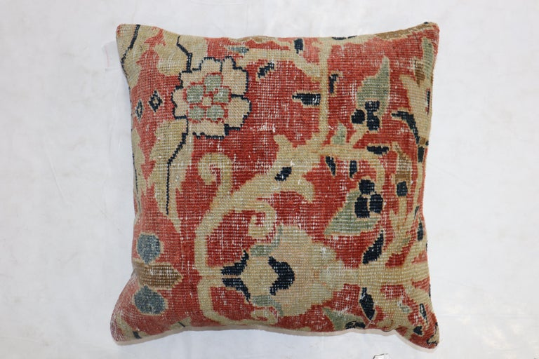 Sultanabad Traditional Rust Color Persian Mahal Rug Pillow, Early 20th Century For Sale