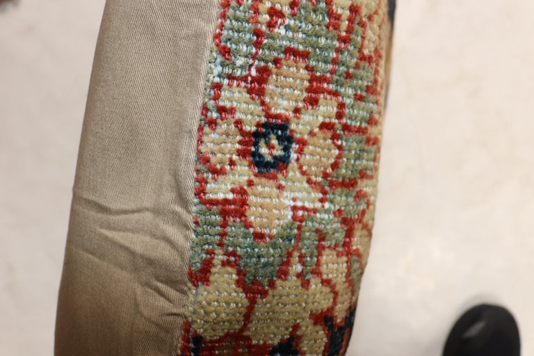 """Pillow made from an antique rust color Persian Mahal rug with a cotton back and zipper closure included.  Measures: 20"""" x 23""""."""