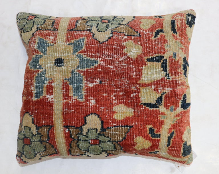 Sultanabad Traditional Rust Color Persian Mahal Rug Pillow For Sale