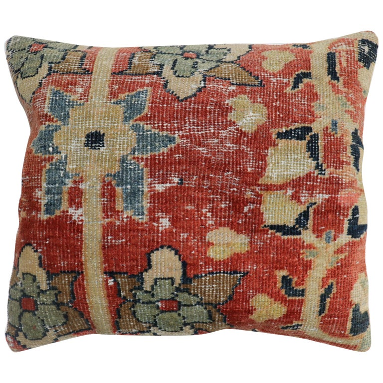 Traditional Rust Color Persian Mahal Rug Pillow For Sale