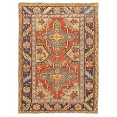 Traditional Rustic Persian Heriz Scatter Rug, Early 20th Century