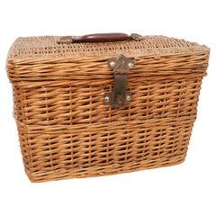 Traditional Rustic Rattan Basket, circa 1950