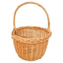 Traditional Rustic Rattan Basket, circa 1960