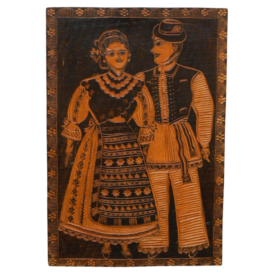 Traditional Rustic Wood Carved Artwork from Spain, circa 1920