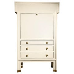 Traditional Secrétaire Pull-Down Writing Desk Ivory-Lacquered Linen Handcrafted