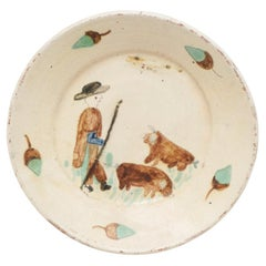 Traditional Spanish Rustic Decorative Hand Painted Ceramic Plate, circa 1920