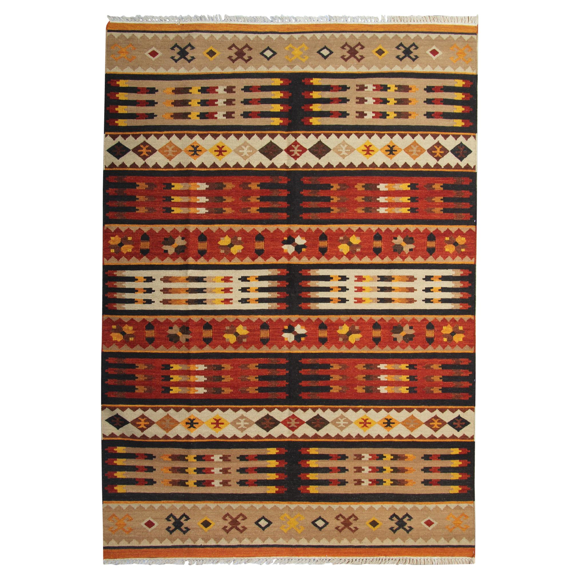 Traditional Striped Kilim Geometric Brown Rust Wool Kilim Rug