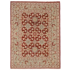 Traditional Style Area Rug with Red and Blue