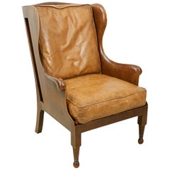 Traditional Style Mahogany and Tan Leather Wing Armchair, Loose Cushions