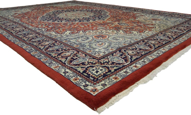 74404 Traditional style vintage area rug with Persian design. Stately and traditional with purpose and charm this vintage Persian style area rug is the epitome of preppy formality with exotic Persian flair. Somber blues and reds soothe the senses in