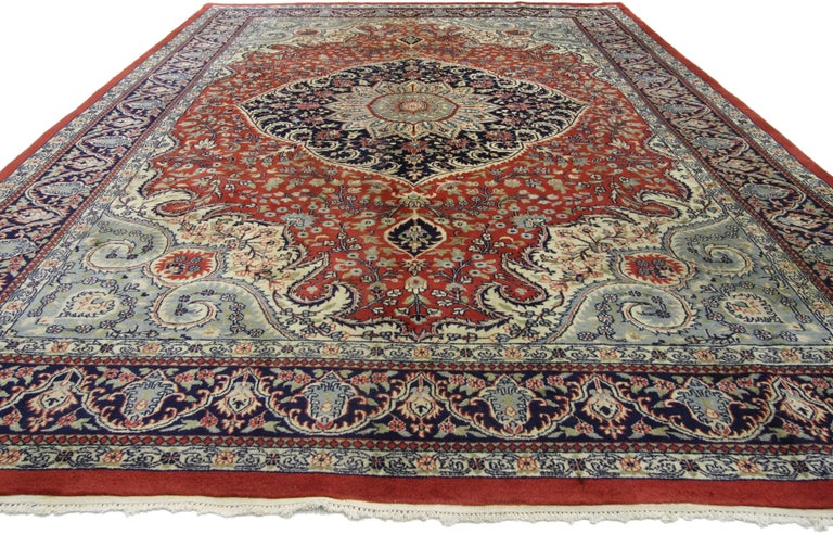 Modern Traditional Style Vintage Area Rug with Persian Design For Sale