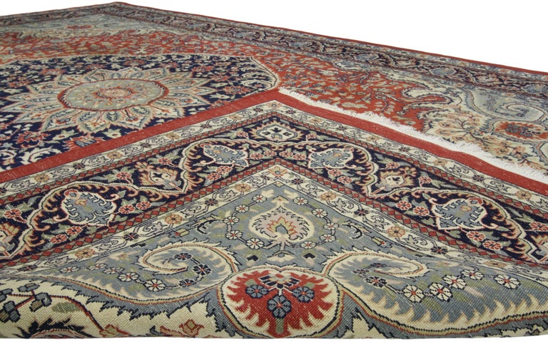Indian Traditional Style Vintage Area Rug with Persian Design For Sale